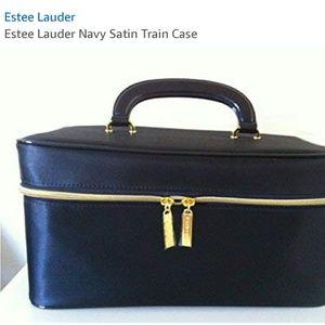 estee Lauder Satin navy satin train case